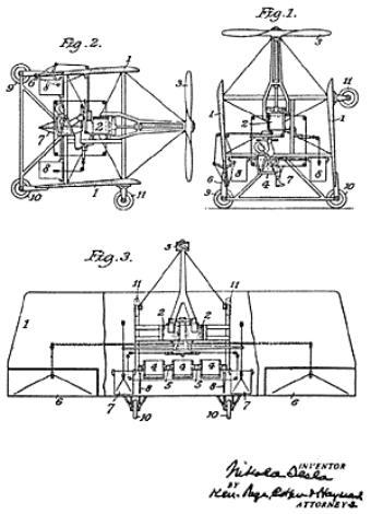Летающая машина Теслы (чертеж к патенту) .